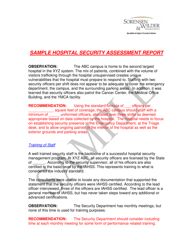 Hospital Security Incident Report