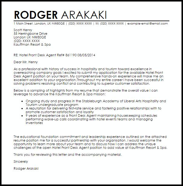 Hotel Front Desk Agent Cover Letter Sample