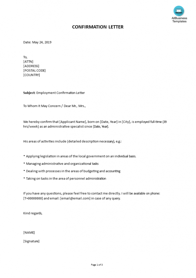 How To Write A Confirmation Letter Check Out This Sample