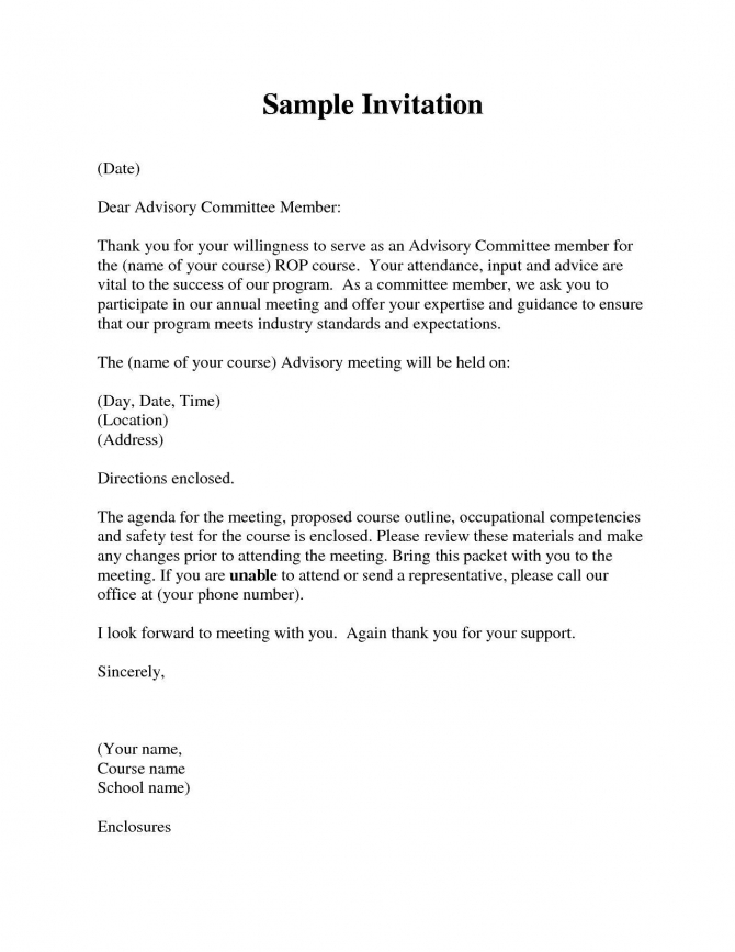 How To Write A Formal Invitation Letter For A Meeting