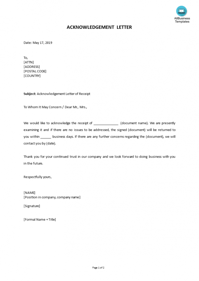 How To Write An Acknowledgement Letter An Easy Way To Start Is To