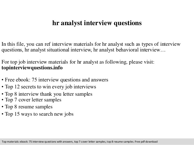 Hr Analyst Interview Questions