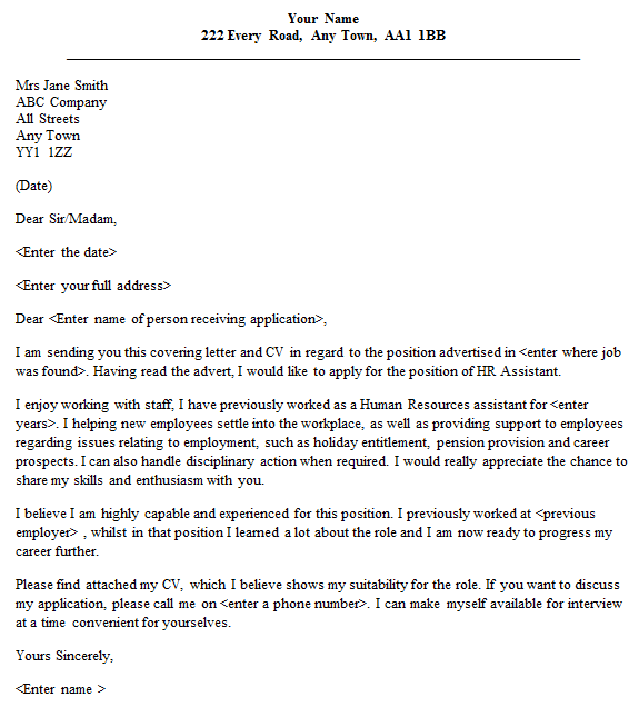 Hr Assistant Cover Letter Example