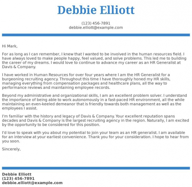 Hr Generalist Cover Letter Examples  Samples   Templates