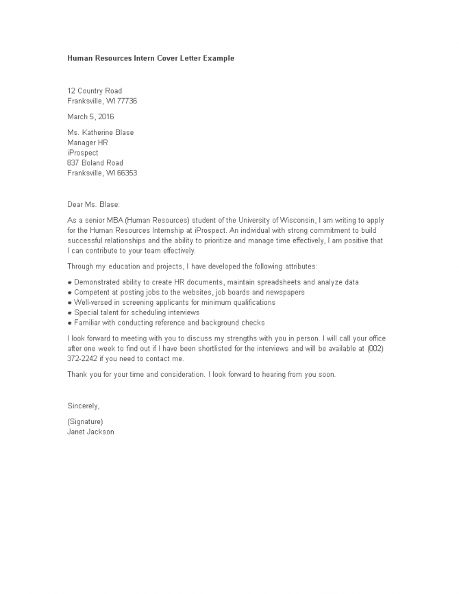 Hr Internship Cover Letter