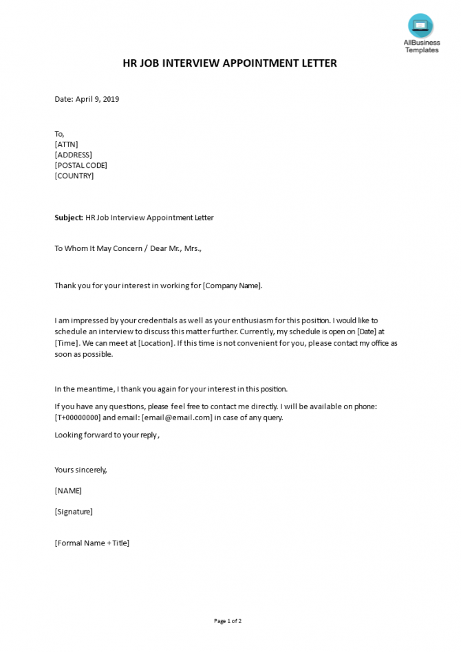 Hr Job Interview Appointment Letter In Word