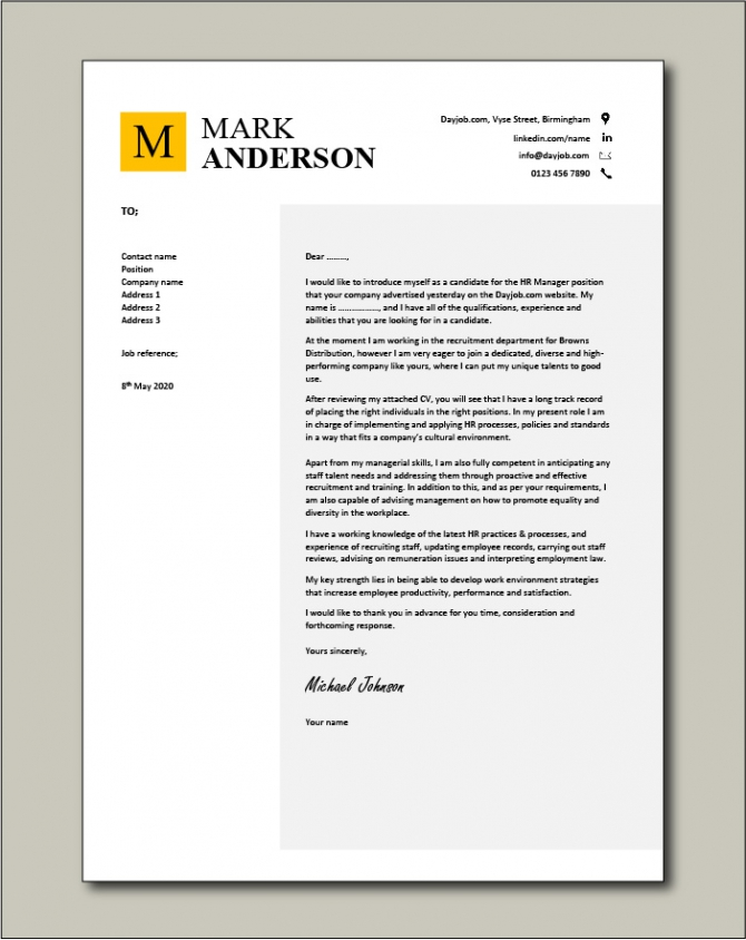 Hr Manager Cover Letter  Human Resources  Example  Sample  Cv