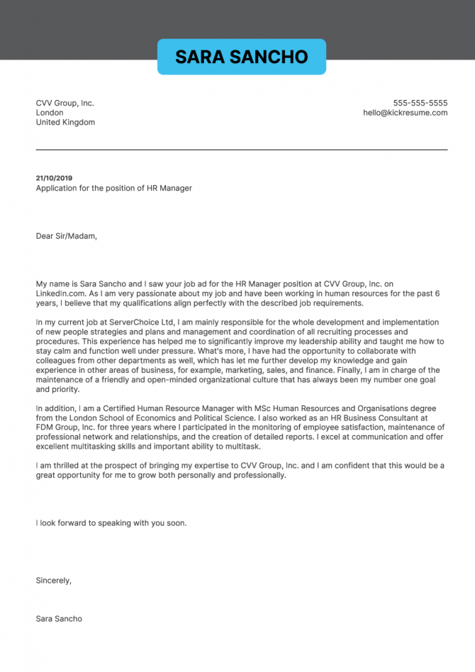 Hr Manager Cover Letter Template