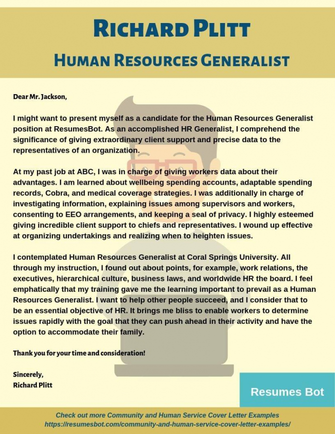 Human Resources Generalist Cover Letter Samples   Templates Pdf
