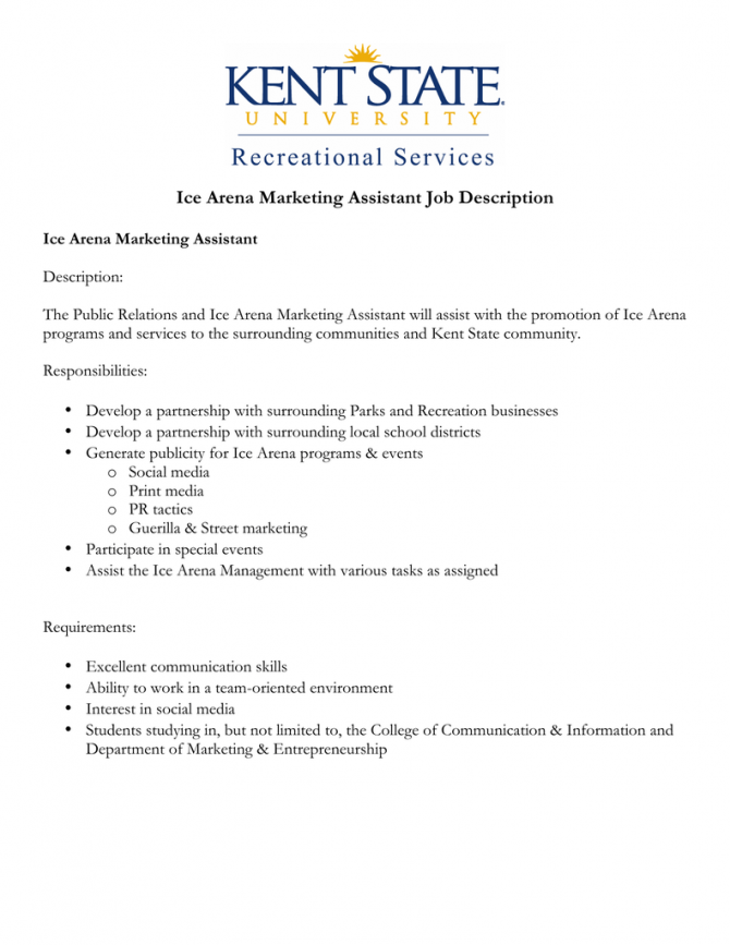 Ice Arena Marketing Assistant Job Description