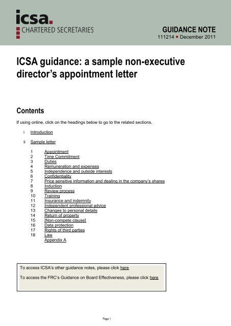 Icsa Guidance A Sample Non