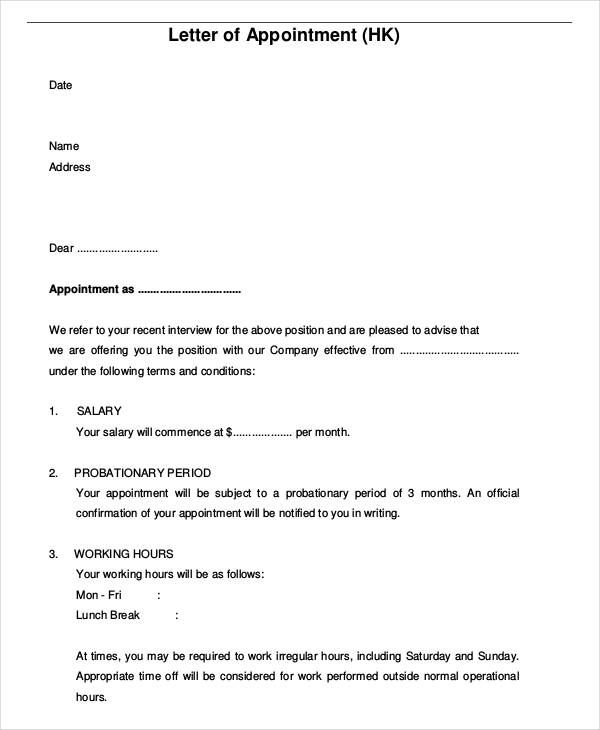 Image Result For Job Appointment Letter For New Employee