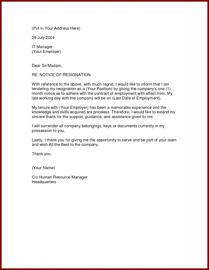 Image Result For Samples Of Resignation Letter With One Month