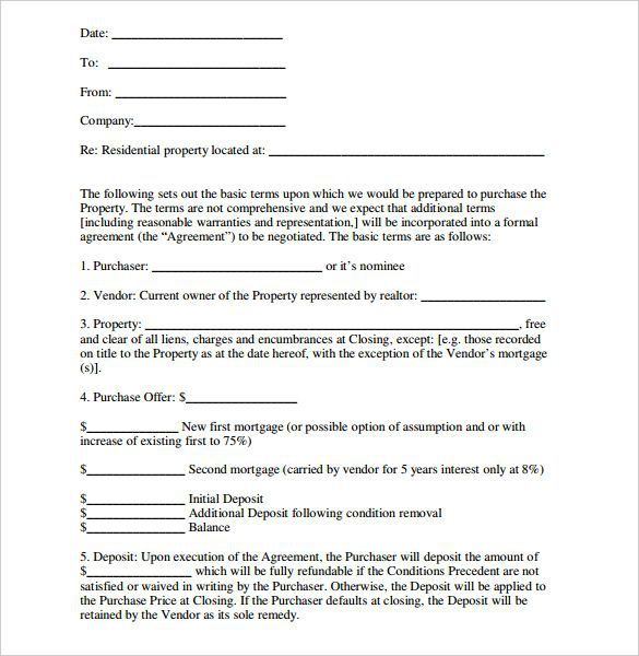 Image Result For Simple Letter Of Intent To Purchase Property With
