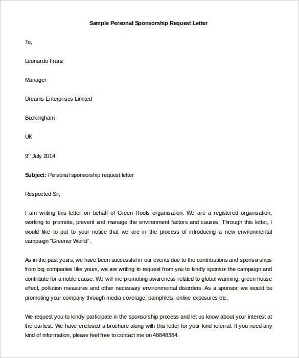 Individual Sponsorship Request Letter Template  Mandut