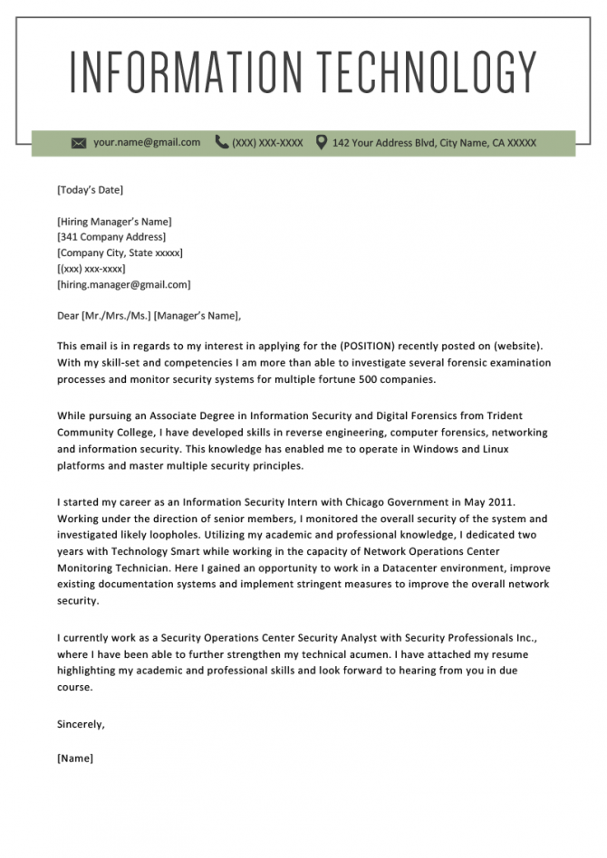 Information Technology It Cover Letter