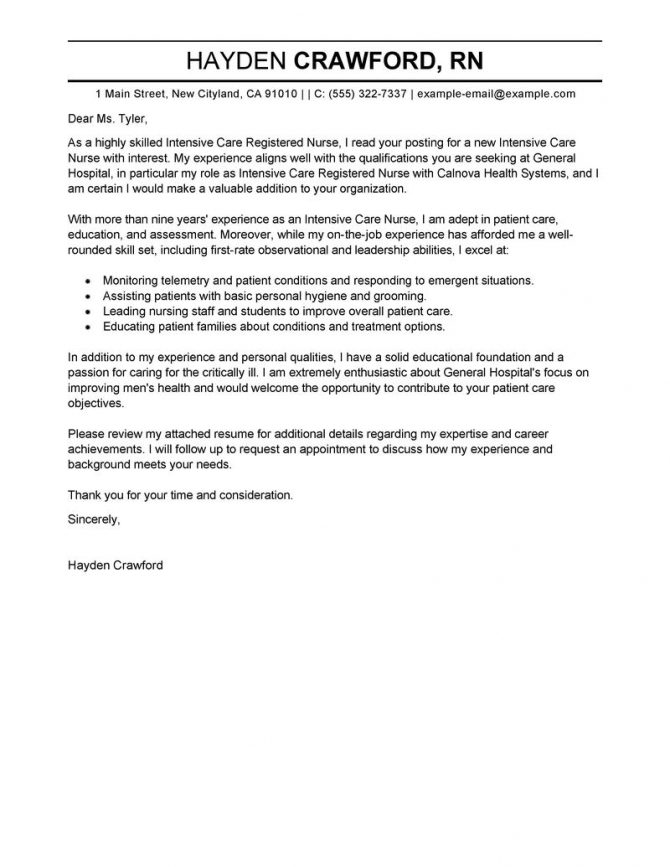 Intensive Care Nurse Cover Letter Example Tips