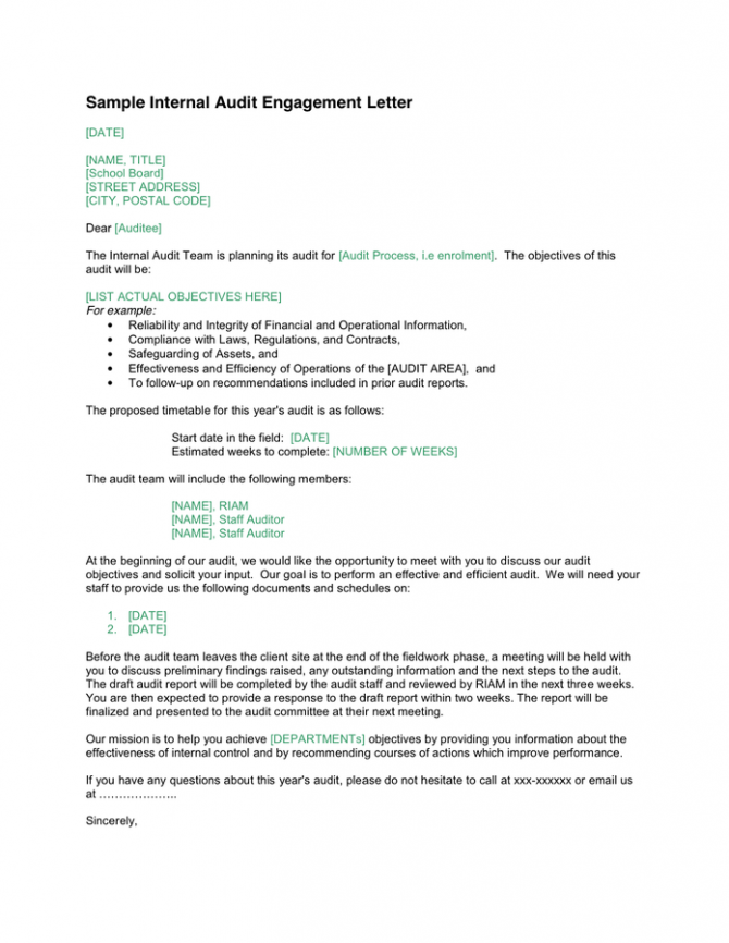 Internal Audit Engagement Letter In Word And Pdf Formats