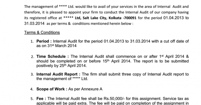 Internal Auditor Appointment Letter Sample Format   Scope Docx