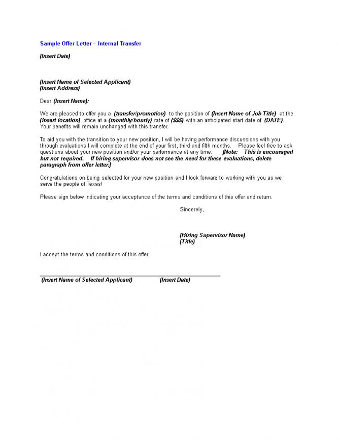 Internal Transfer Offer Letter