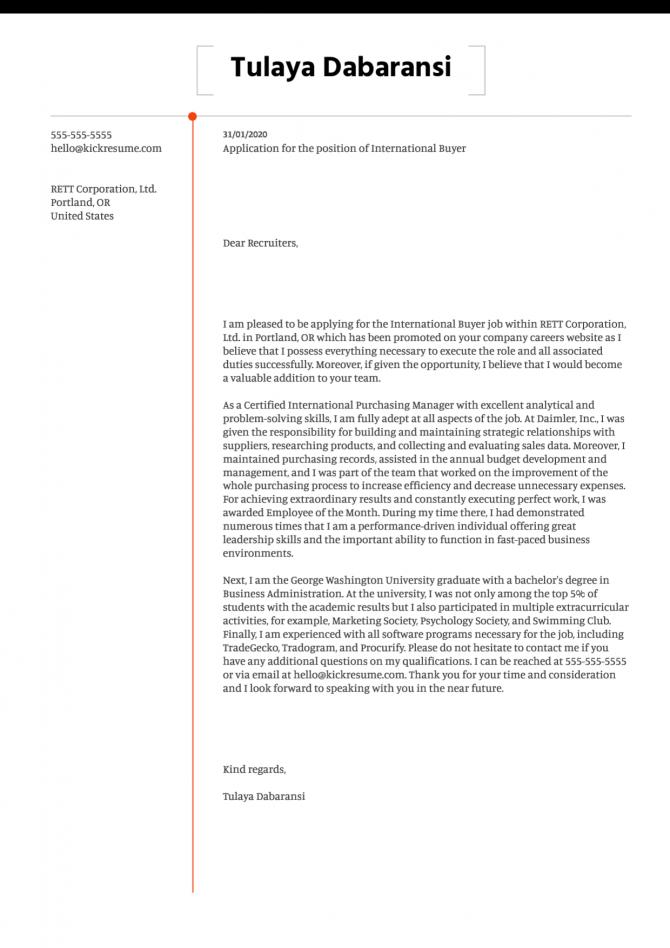 International Buyer Cover Letter Sample
