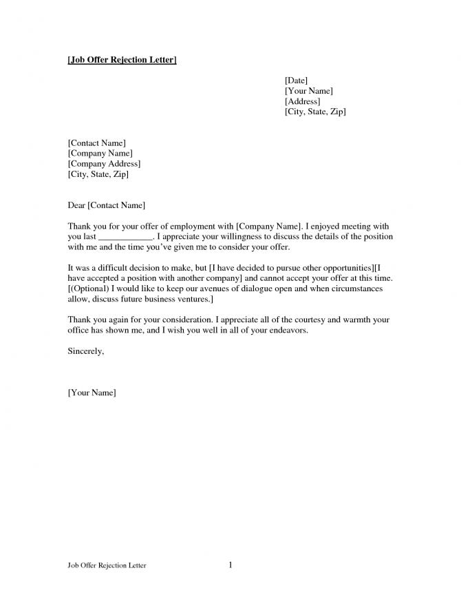 Internship Decline Letter