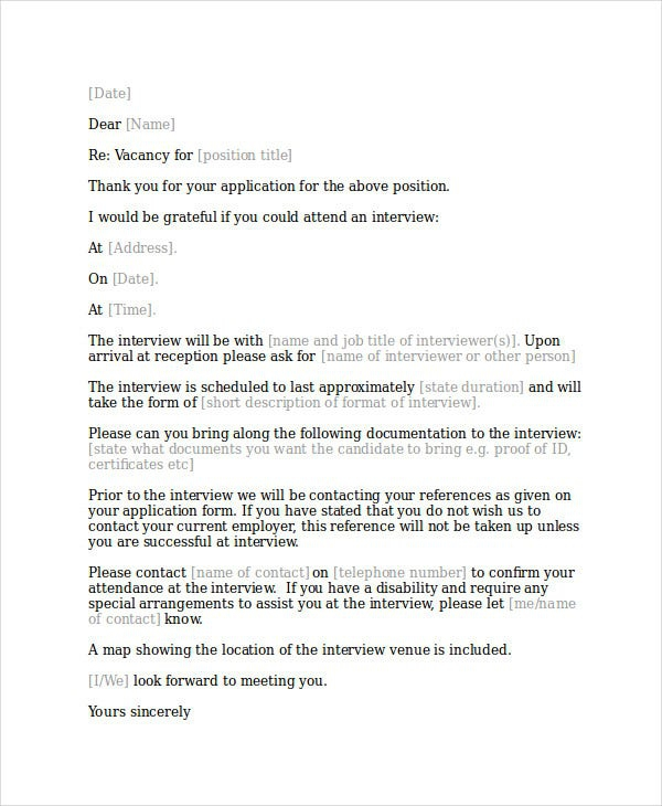Interview Acknowledgement Letter Templates