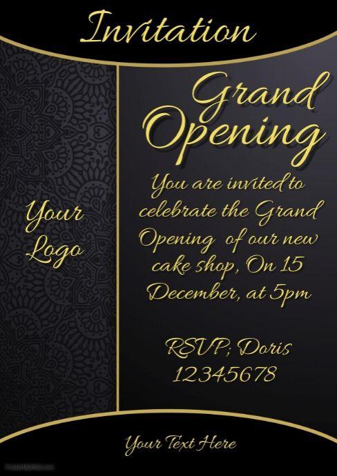 Invitation Grand Opening Restaurant Menu Card
