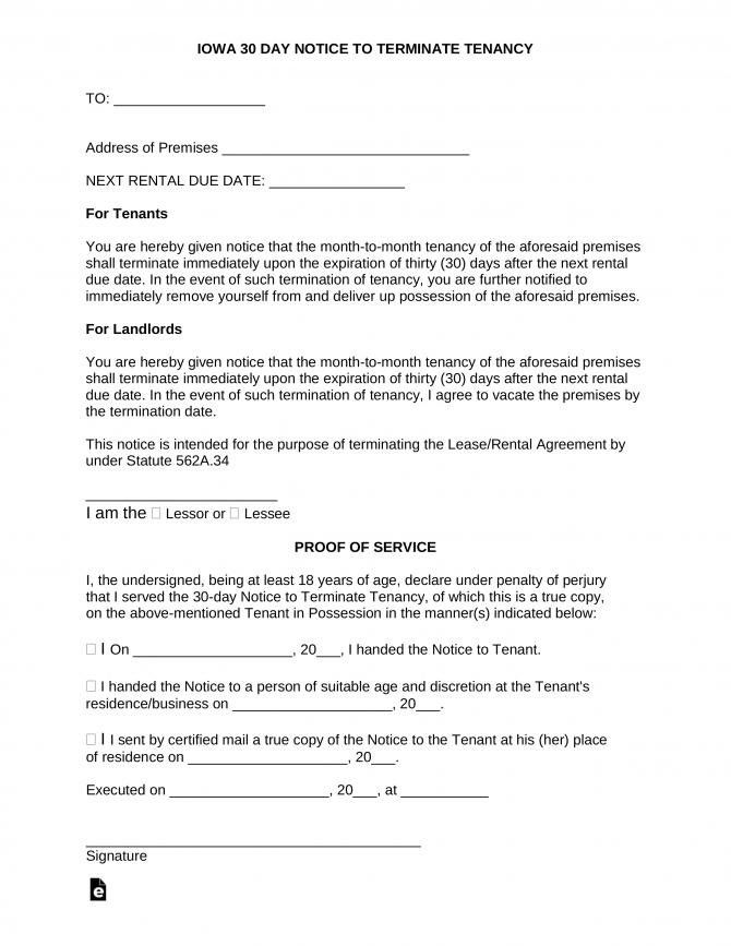 Iowa Lease Termination Letter Form