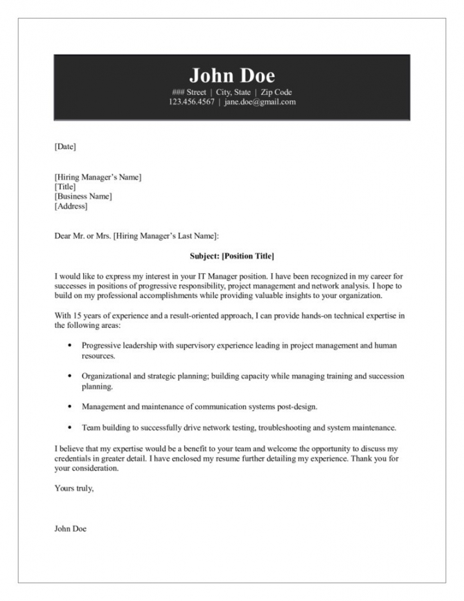 It Manager Cover Letter