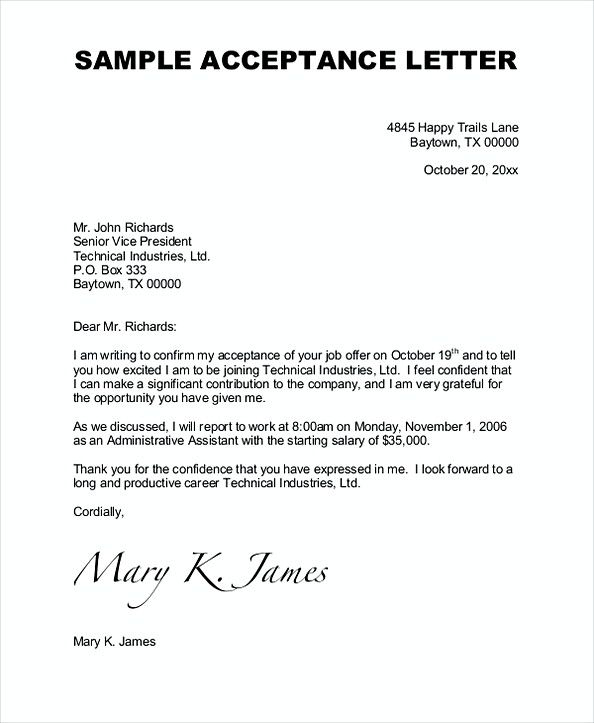Job Acceptance Letter  How To Impress Your Employer At Your