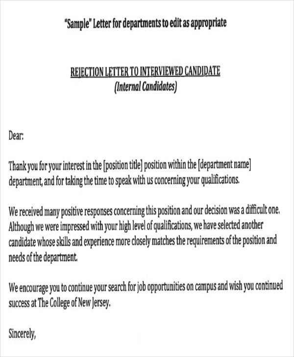 Job Application Rejection Letters Templates For The Applicants