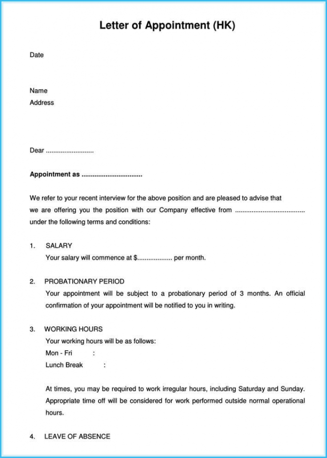 Job Appointment Letter  Sample Letters And Templates