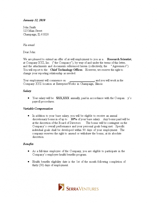 Job Offer Appointment Letter
