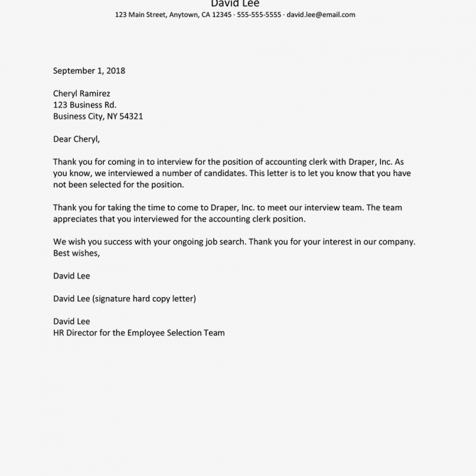Job Rejection Letter Samples And Policies
