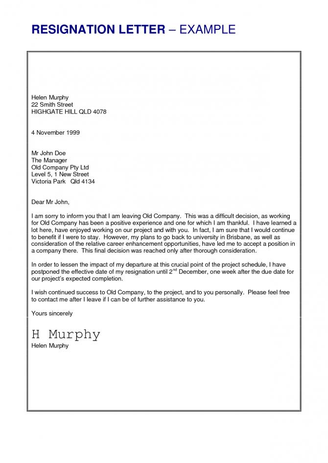 Job Resignation Letter Sample