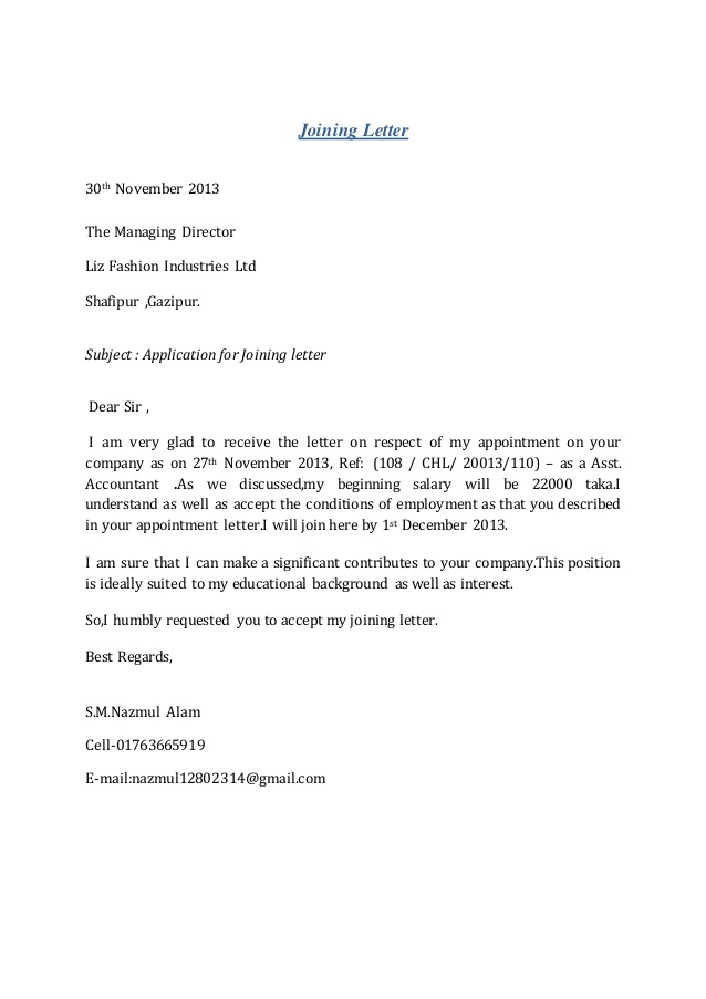 Appointment Letter For Managing Director