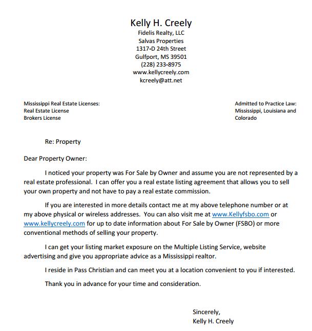 Kelly Creely Fsbo Letter