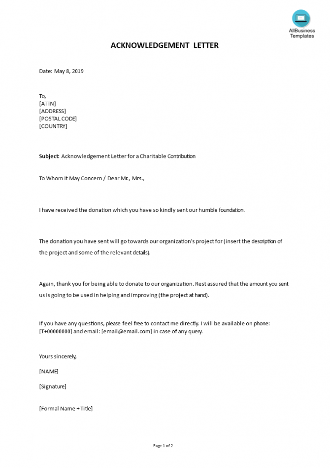 Kostenloses Letter Of Acknowledgement For A Charitable Contribution