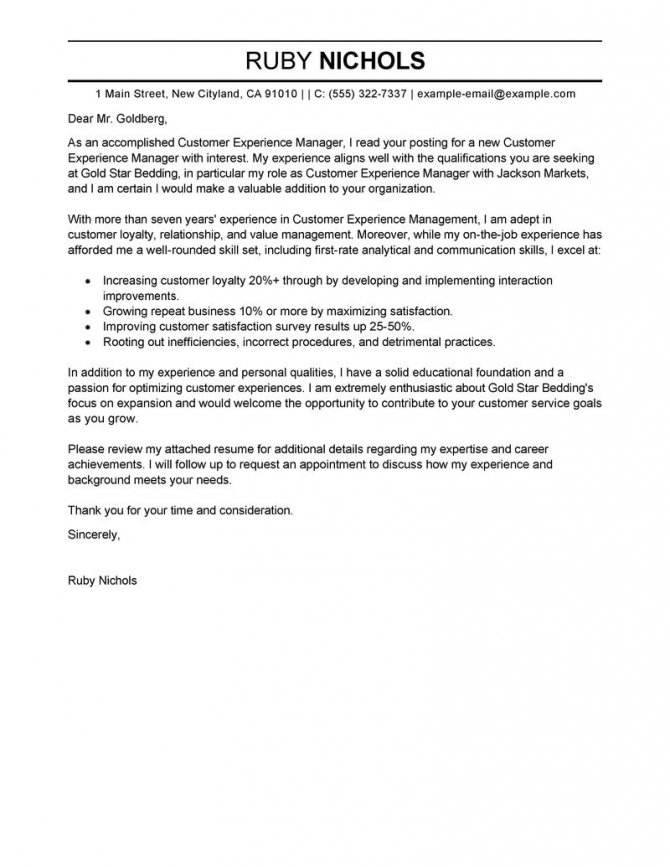 Leading Professional Customer Experience Manager Cover Letter