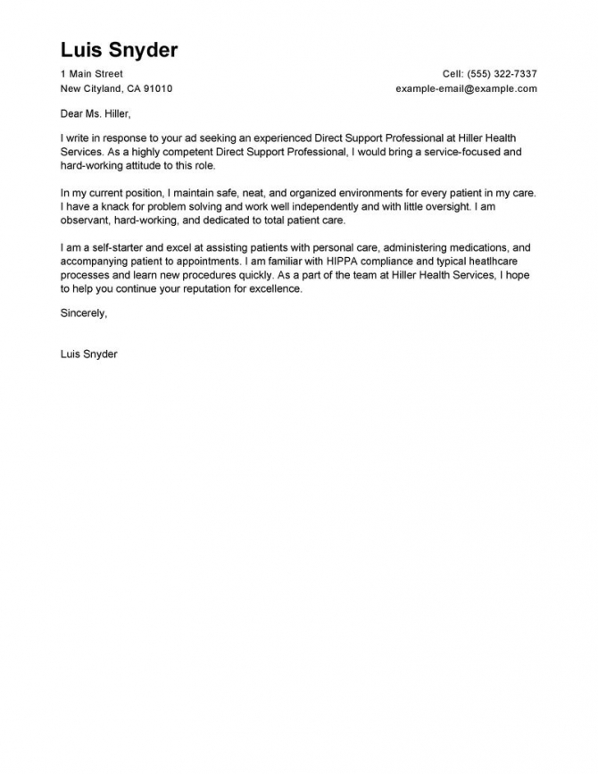 Leading Professional Direct Support Professional Cover Letter