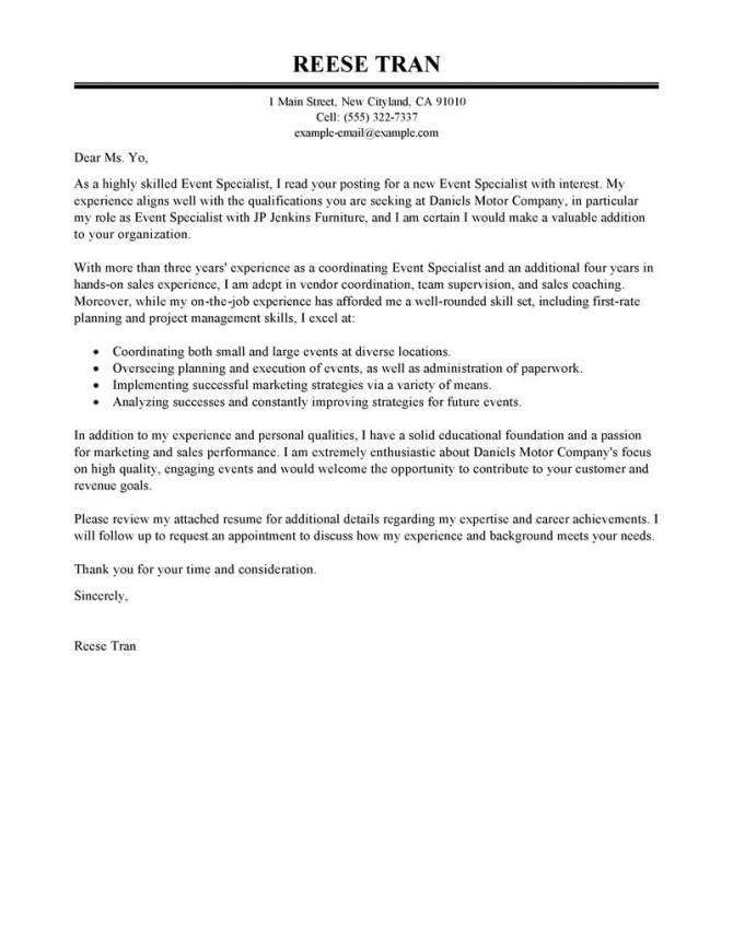 Leading Professional Event Specialist Cover Letter Examples