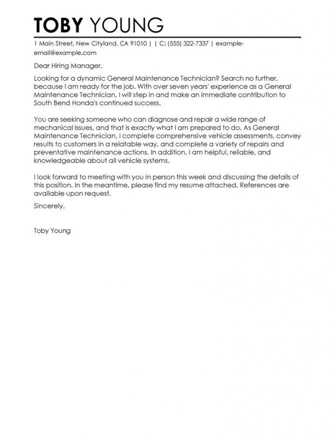 Leading Professional General Maintenance Technician Cover Letter