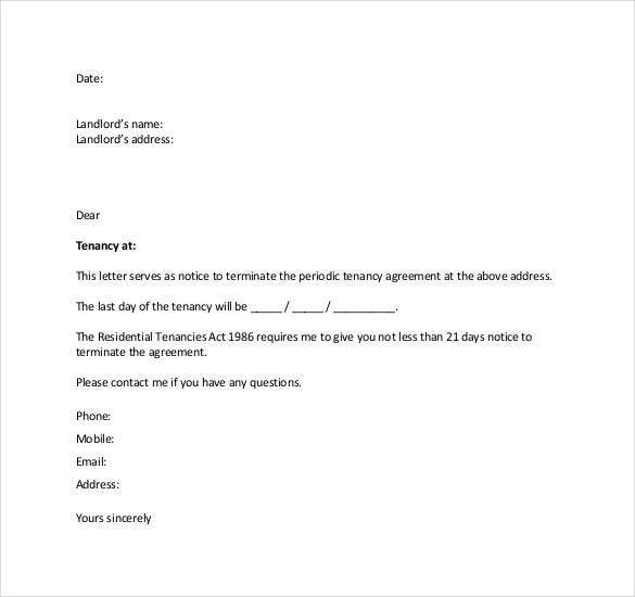 Lease Termination Letter Templates