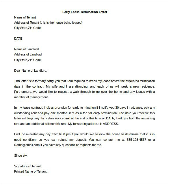 Lease Termination Letter Templates  Free Sample
