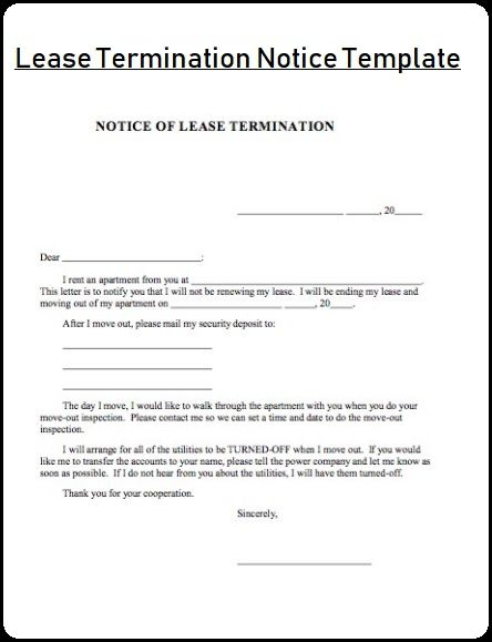 Lease Termination Notice Template