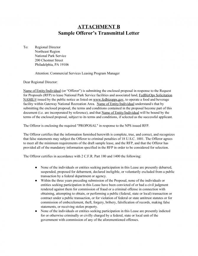 Lease Transmittal Letter