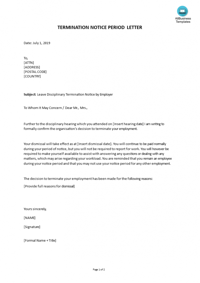 Leave Disciplinary Termination Notice Period Letter