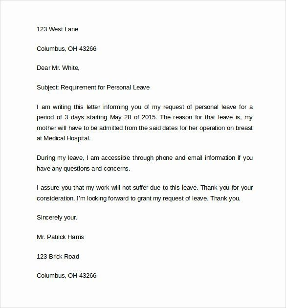 Leave Of Absence Letter For Personal Reasons  In