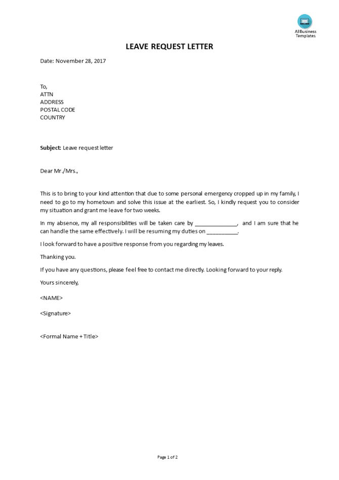Leave Request Letter Example